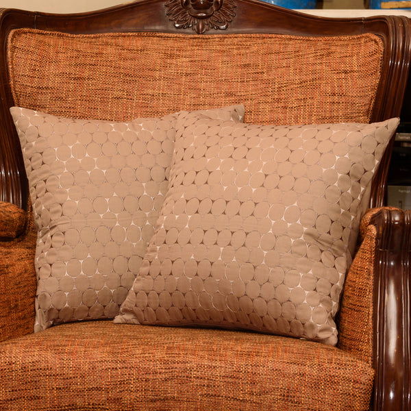 "Set of 2 Ombre Pebbles/ Expresso : Embroidered and quilted  cushion cover (16"" * 16"")"