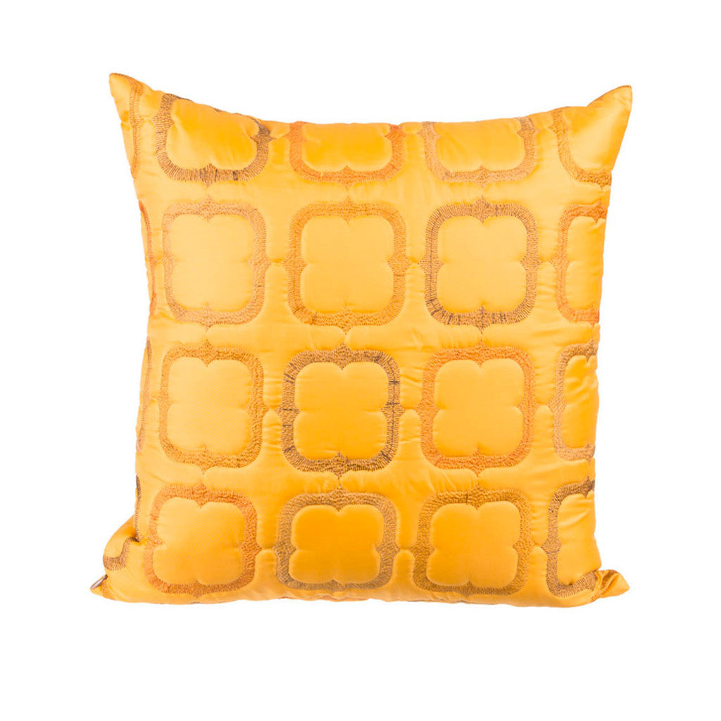 "Blocks/ Orange Tango: Faux silk quilted cushion cover (16"" x 16"")"