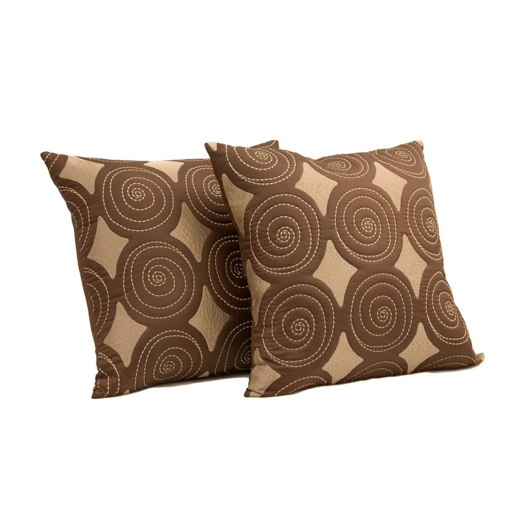 "Set of 2 Banina/ Smokey Taupe: Polyester quilted cushion cover (20""*20"")"