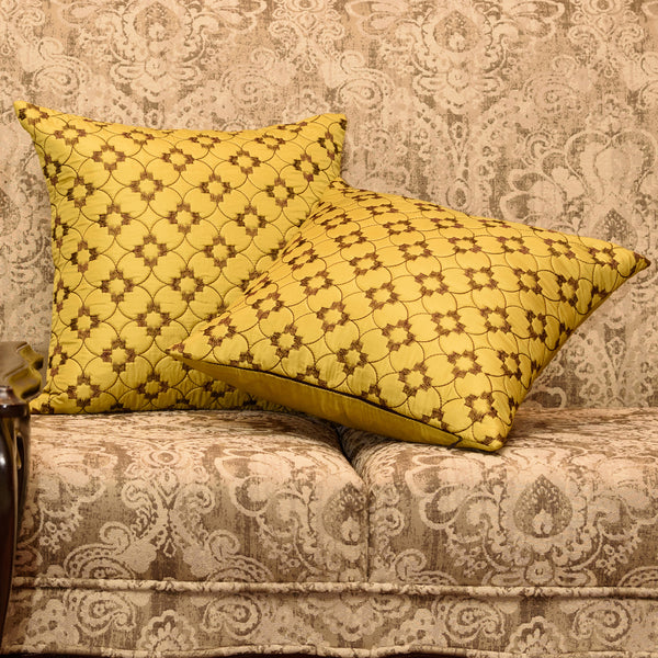 "Set of 2 Diamonde/ Meadows: Polyester quilted cushion cover (16"" * 16"")"