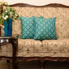 "Set of 2 Diamonde/ Empress Teal: Faux silk quilted cushion cover (16"" * 16"")"