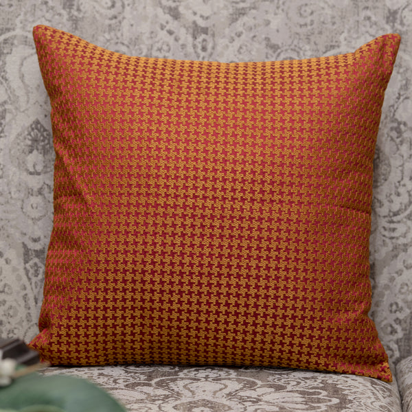 "Houndstooth/ Jalapen: Silk embroidered cushion cover (16"" x 16"")"