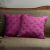 "Set of 2 Cross Hatch/ Elderberry wine: Quilted fauxsilk poly cushion cover (16"" * 16"")"