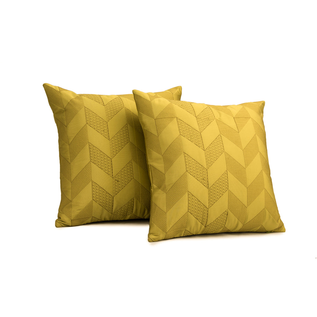 "Set of 2 Meanders/Marmalade: Faux silk quilted cushion cover (16"" * 16"")"