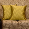 "Set of 2 Meanders/Riviera Sand: Faux silk quilted cushion cover (16"" * 16"")"