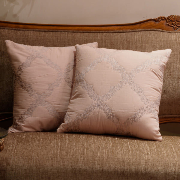 "Set of 2 Grill/ Blush : Embroidered and quilted cushion cover (16"" * 16"")"