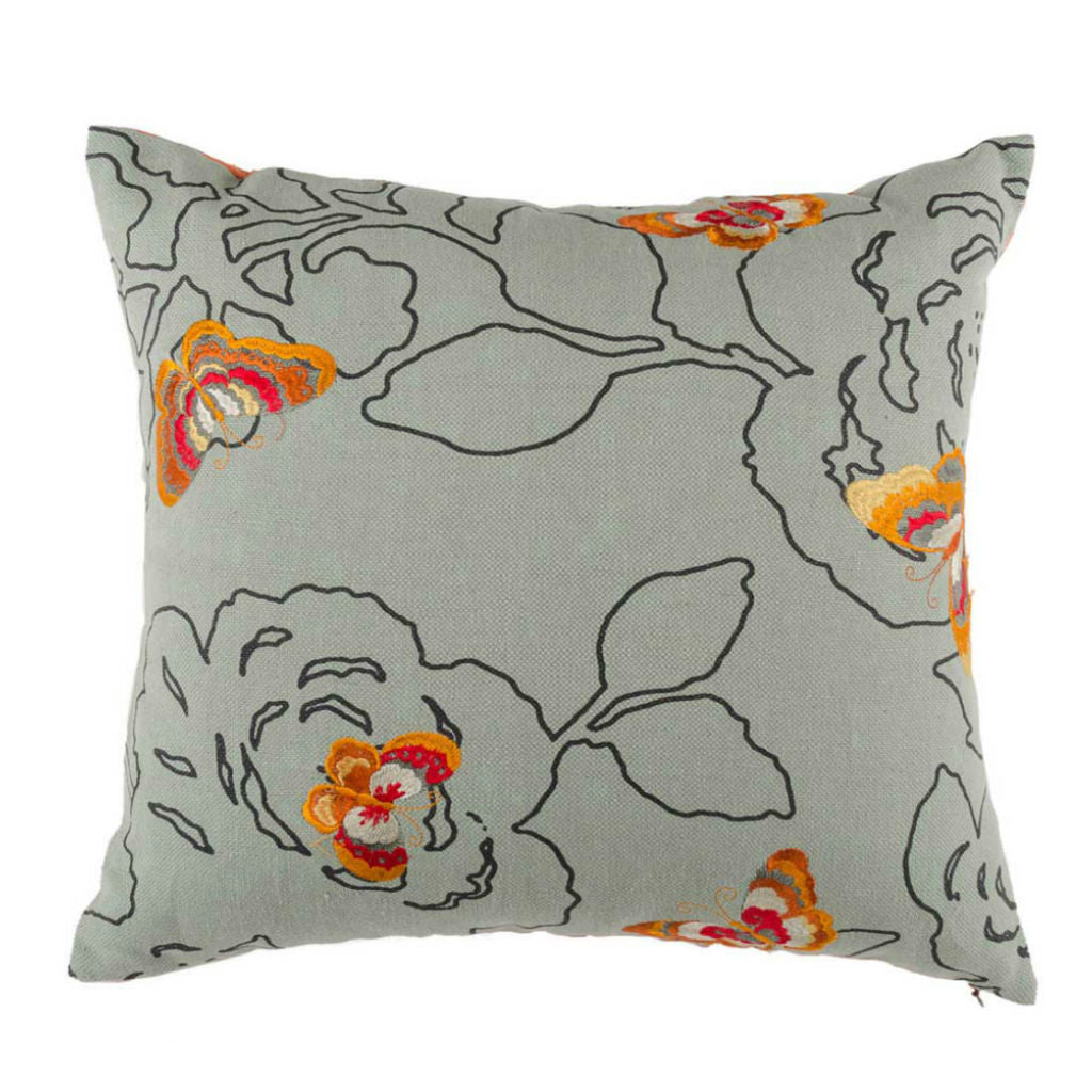 Orange Linen Floral Embroidered Designer Cushion Cover | Onset Designs