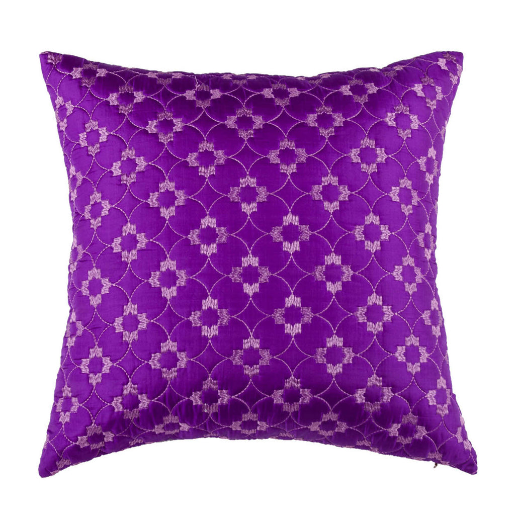 Purple Silk Embroidered Designer Cushion Cover | Onset Designs
