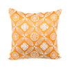 "Zevar/ Orange Tango: Mother of pearl silk cushion cover (16"" x 16"")"