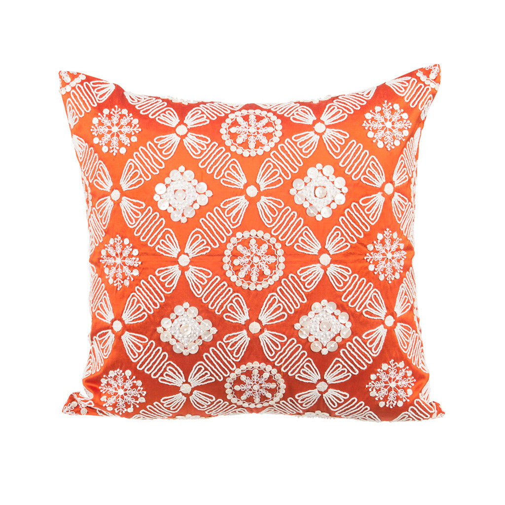 "Zevar/ Paprika: Mother of pearl silk cushion cover (16"" x 16"")"