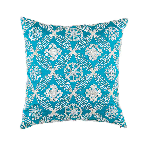 "Zevar/  Empress Teal: Mother of pearl silk cushion cover (16"" x 16"")"