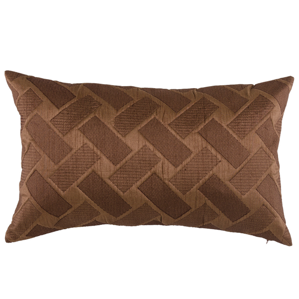 "Cross Hatch/ Cappuccino: Quilted fauxsilk poly cushion cover (12"" x 20"")"