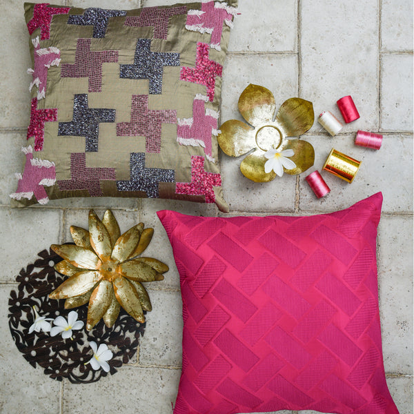 The Cushion Project Set of 2  Magenta Cushion Covers