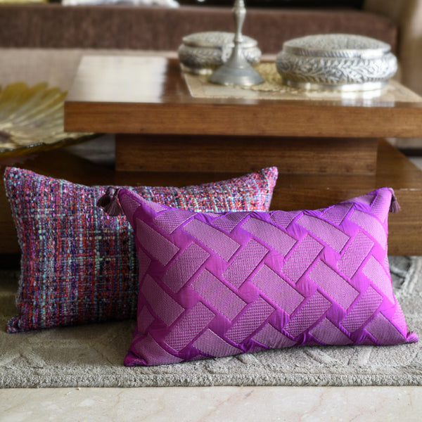 The Cushion Project Set of 2  Purple Texture Cushion Covers