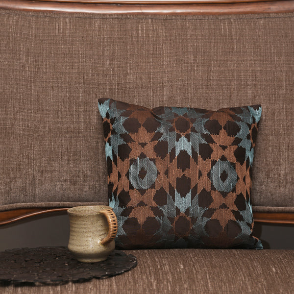 "Ikat mosaic/ Blue Lagoon: Silk embroidered cushion cover (12"" x 12"")"