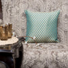 "Polka/ Aqua Bay: Silk woven cushion cover (12"" x 12"")"