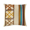 "Looped Diamond / Spice : Embroidered linen cushion cover (16"" x 16"")"