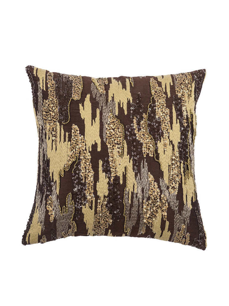 Brown Embroidered Polyster Designer Cushion Cover | Onset Designs