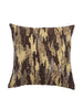 "Shimmer camouflauge/ Gold Thread: Hand Embroidered faux silk cushion cover (12"" x 12"")"