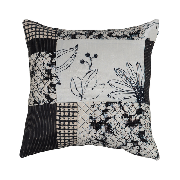 Black and White Patchwork Silk  Designer Cushion Cover | Onset Designs