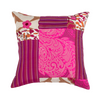 "Kitsch Melange/ Gold Thread: Patchwork silk cushion cover (16"" x 16"")"
