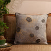 "Flora/ Grey: Printed & Hand Embroidered cushion cover (20""*20"")"
