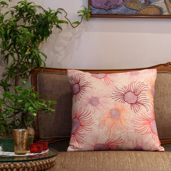 "Onset Flora/ Pink: Printed & Hand Embroidered cushion cover (20""*20"")"