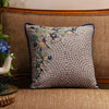 "Onset Bouquet/ Indigo: Printed & colourful Hand Embroidered cushion cover (18""*18"")"