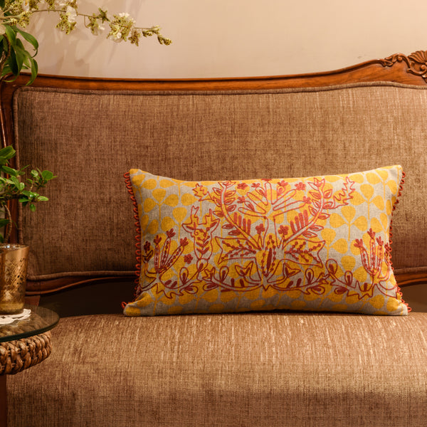 "Onset Tribal Life/ Cream Orange: Printed Hand Embroidered cushion cover (12""*20"")"
