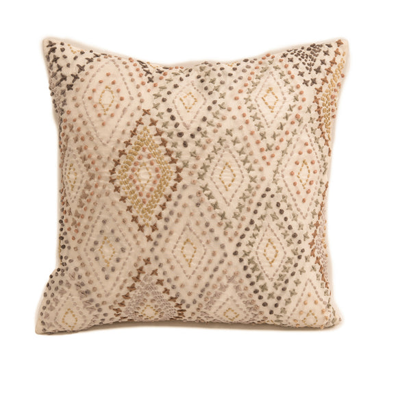 "Onset Cross and Knots / Off White : Kantha Hand Embroidered cushion cover (12""*12"")"