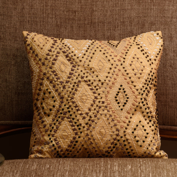 "Onset Cross and Knots / Gold : Kantha Hand Embroidered cushion cover (12""*12"")"