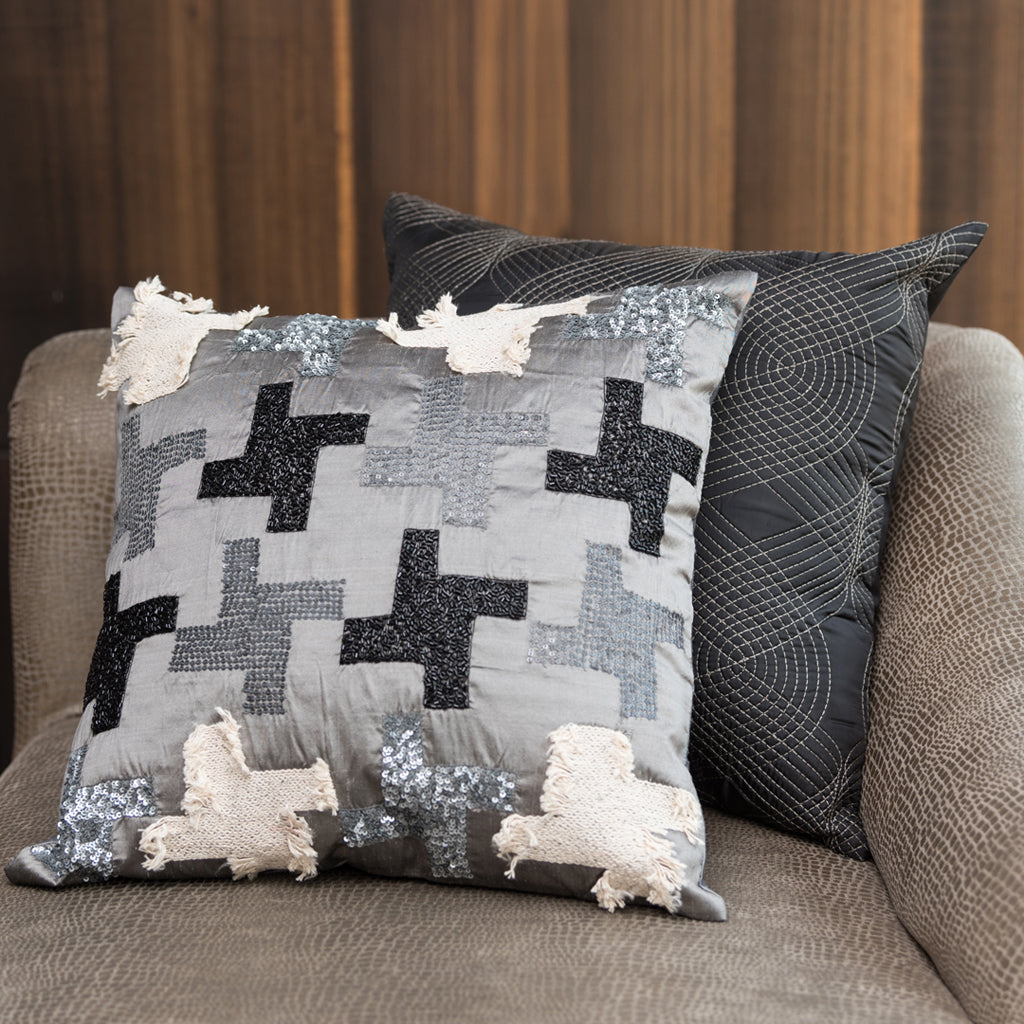 The Cushion Project Set of 2 Houdstooth Black & Grey Cushion Covers