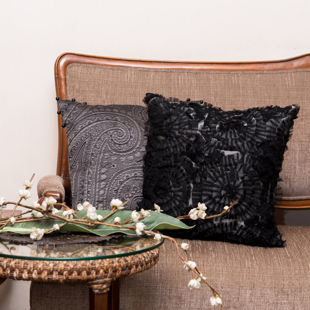 The Cushion Project Set of 2 Frills Black & Grey Cushion Covers