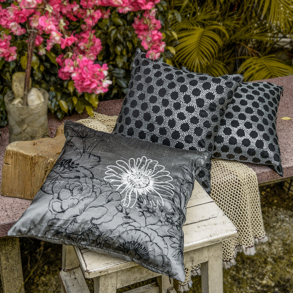 The Cushion Project Set of 3 Shimmer Floral Cushion Covers