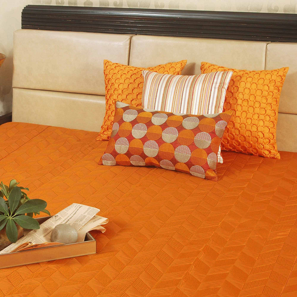 Orange faux silk designer Bed cover/Onset Design