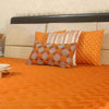 "Zigzag/ Marmalade: Embroidered and quilted faux silk bed cover (96"" x 108"")"