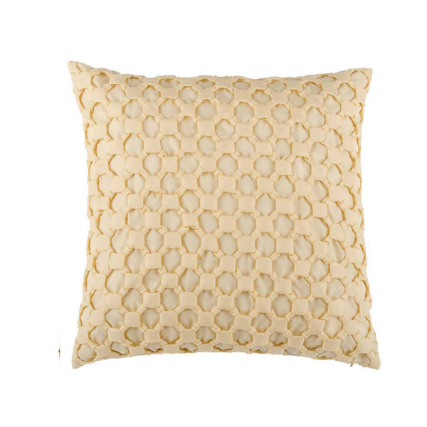 Cream Silk Textured Designer Cushion Cover | Onset Designs