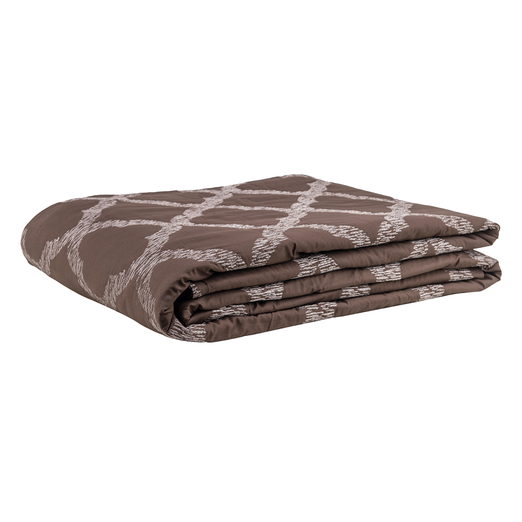 Textured Grill Cotton Brown Embroidered Designer Bed Cover