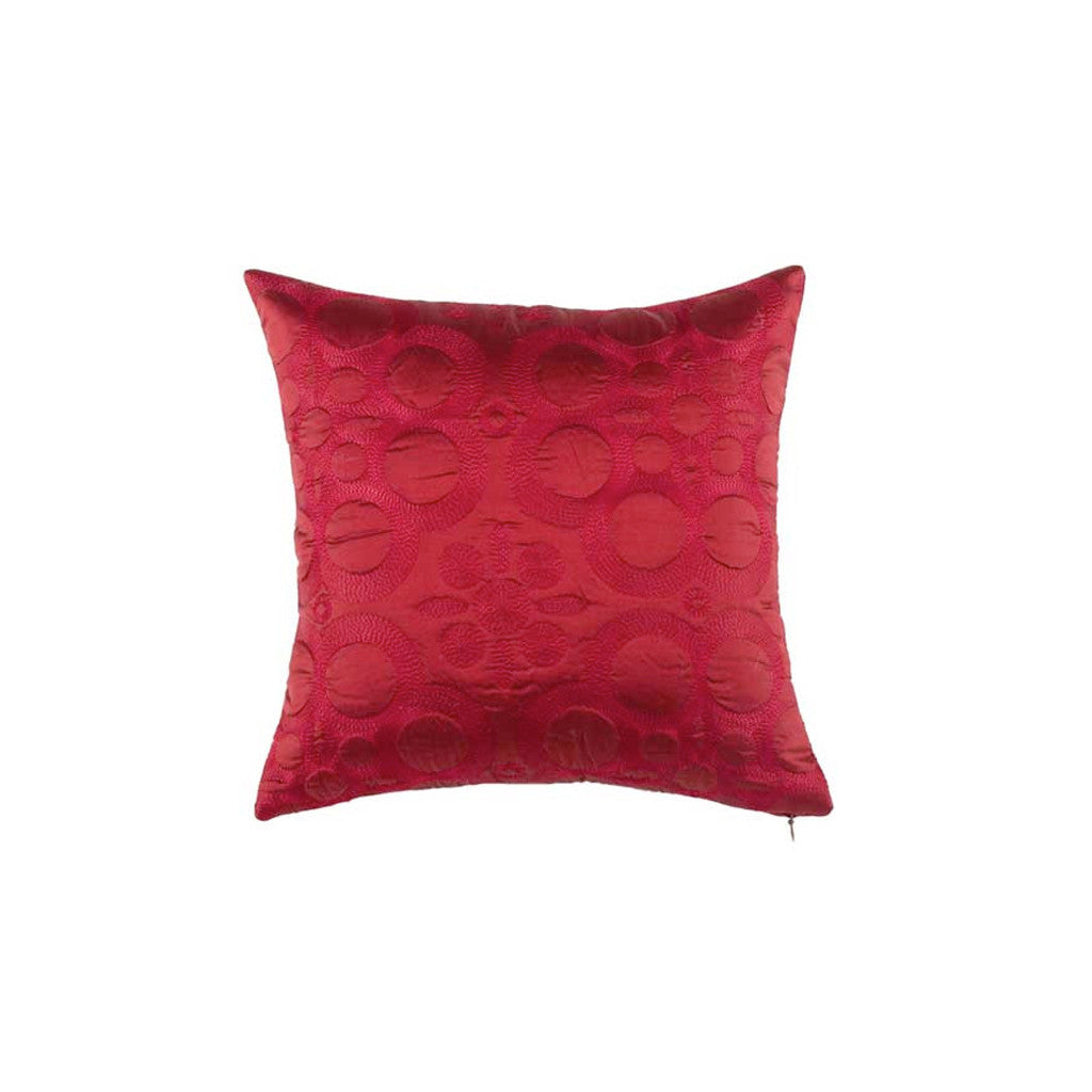 "Latika/ Garnet: Silk quilted cushion cover (12"" x 12"")"