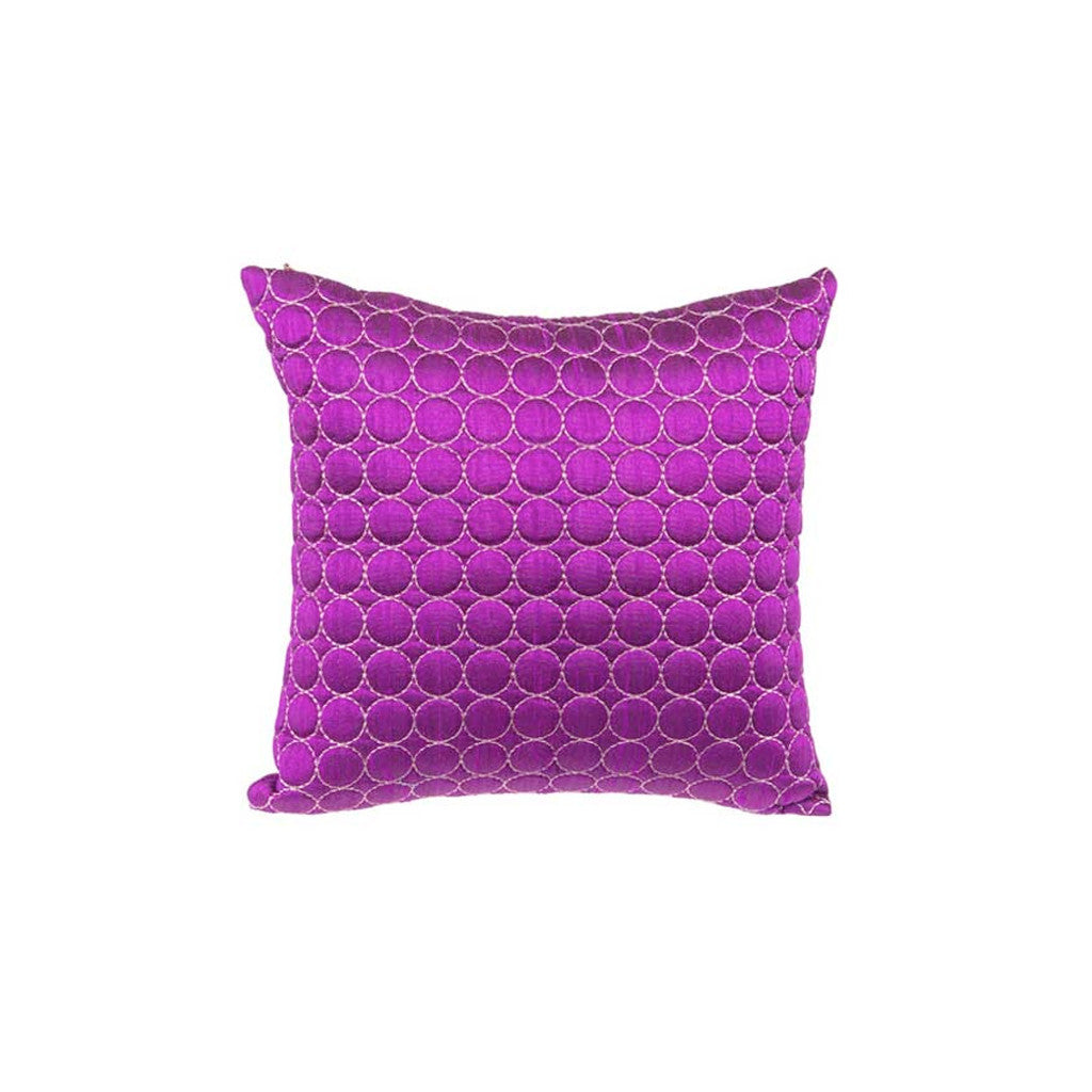 "Penny/ Elderberry Wine : Silk quilted cushion cover (12"" x 12"")"