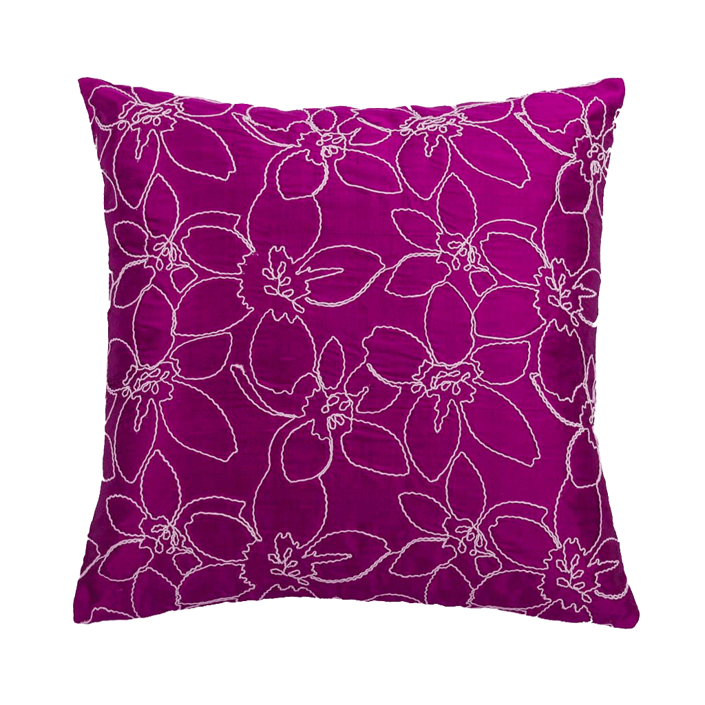 "Merrell/ Sangria: Hand embroidered silk cushion cover (16"" x 16"")"
