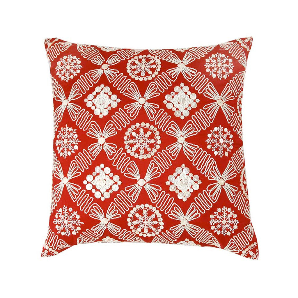 "Zevar/ Regal Red: Mother of pearl silk cushion cover (16"" x 16"")"