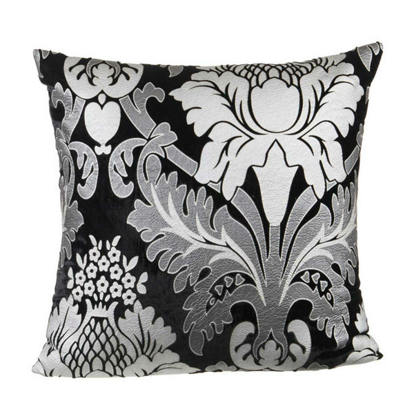"Regal/ Charcoal: Velvet printed cushion cover (18"" x 18"")"