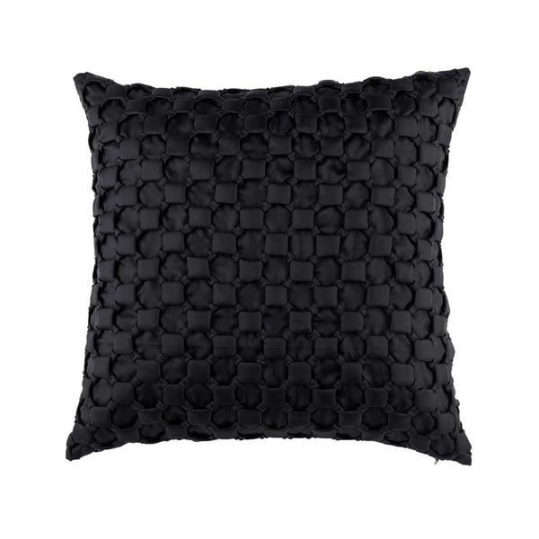 Black Silk Textured Designer Cushion Cover | Onset Designs