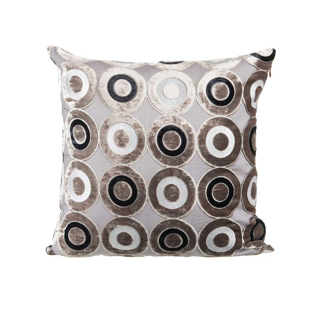 "Circular Kaleidoscope/ Charcoal: Velvet cushion cover (16"" x 16"")"