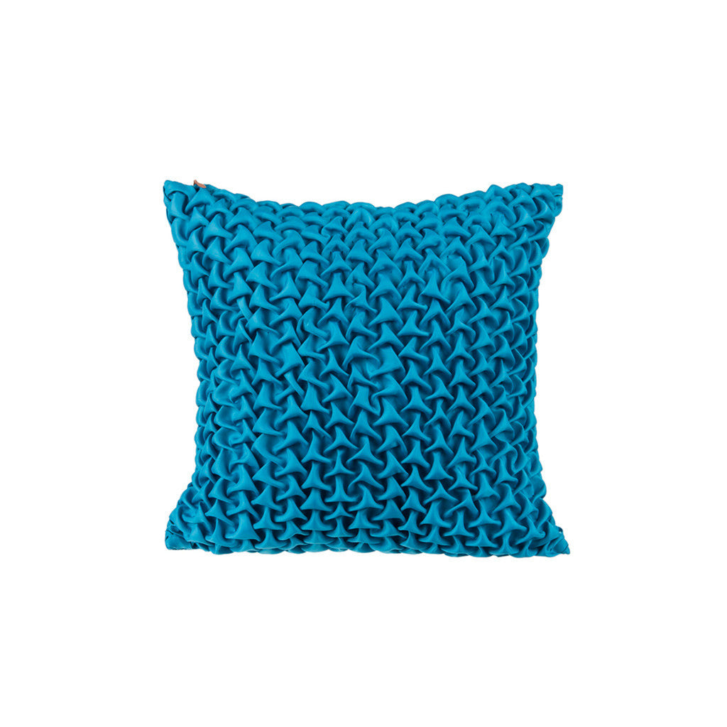 "Mosaic pyramids/ Indigo : Textured faux silk cushion cover (12"" x 12"")"