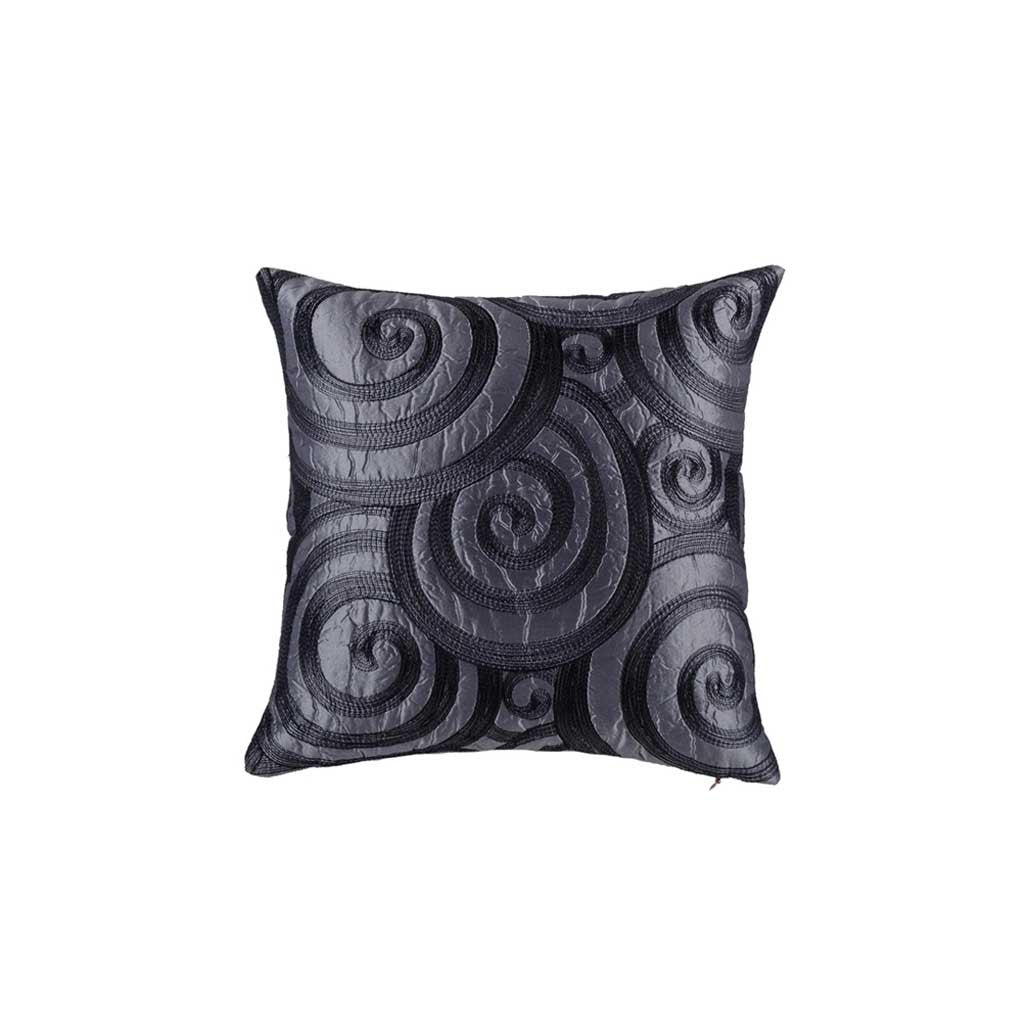 "Catherine/ Charcoal:  Silk quilted cushion cover (12"" x 12"")"