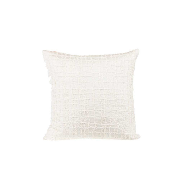 "Boucled Grid/ Snow Flakes: Hand embroidered silk cushion cover (12"" x 12"")"