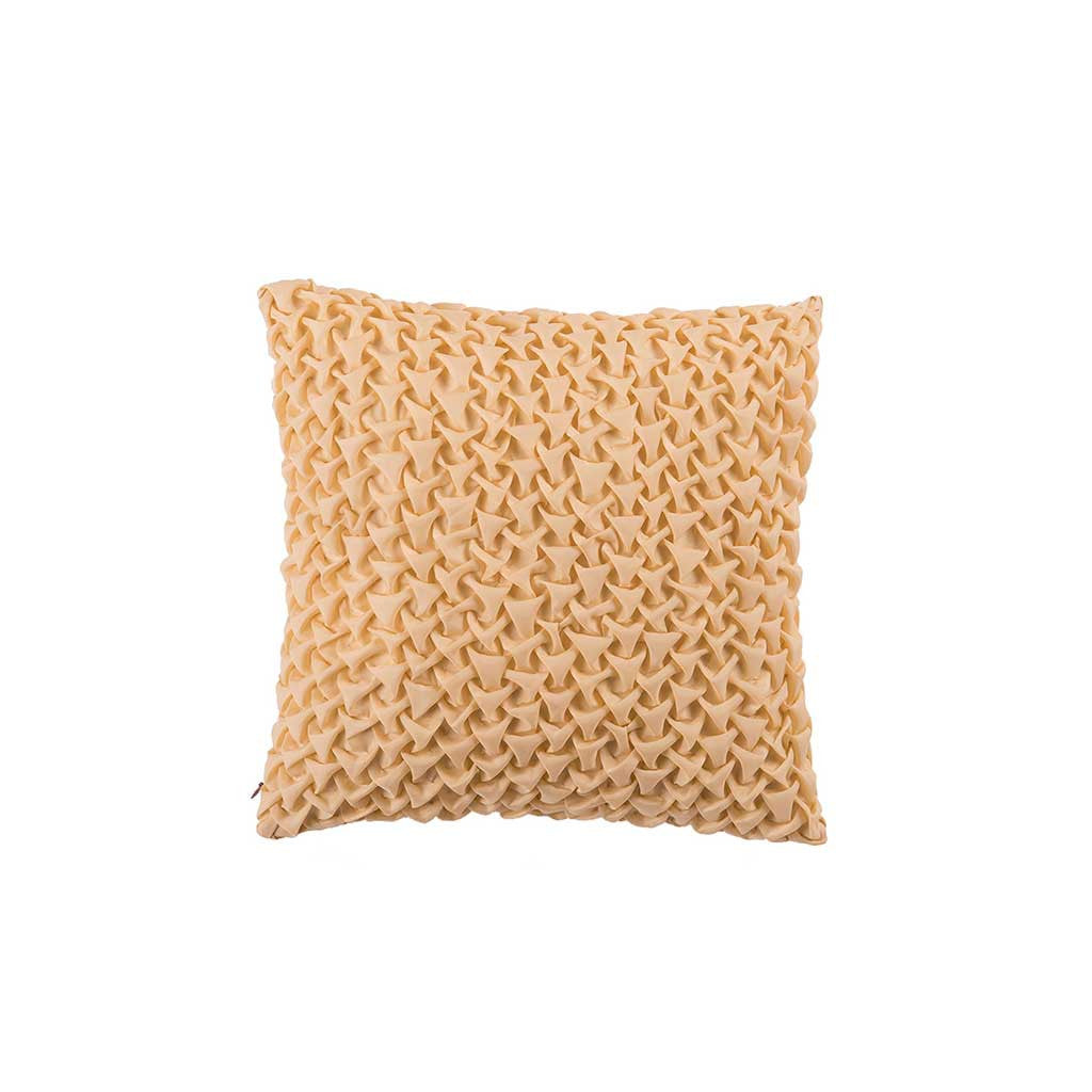 "Mosaic Pyramids/ Cream Beige: Textured faux silk cushion cover (12"" x 12"")"
