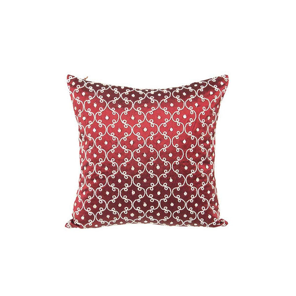 "Pearlized/ Garnet: Embroidered mother of pearl silk cushion cover (12"" x 12"")"